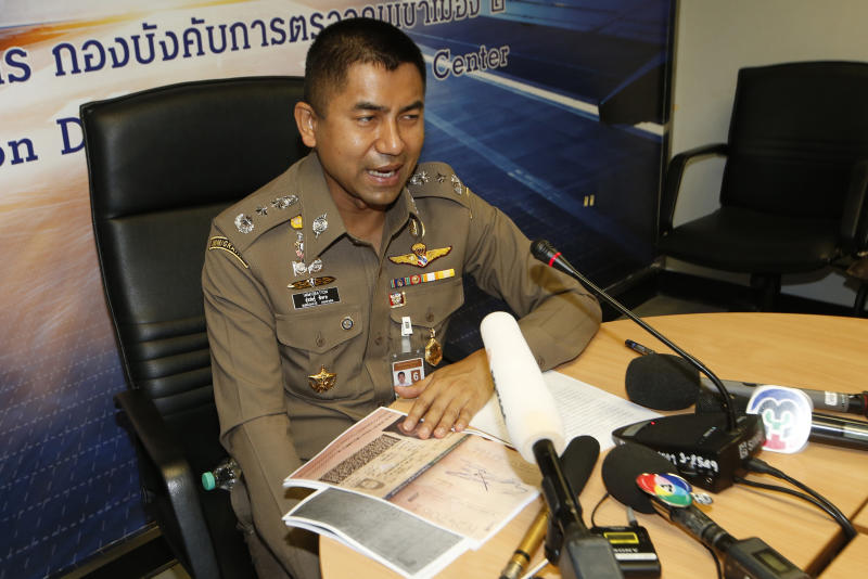 Chief of Immigration Police Maj. Gen. Surachate Hakparn talks to media about the status Rahaf Mohammed Alqunun during a press conference at the Suvarnabhumi Airport in Bangkok Monday, Jan. 7, 2019. Thailand's Immigration Police chief says Alqunun, the young Saudi woman stopped in Bangkok as she was trying to escape alleged abuse by her family by traveling to Australia for asylum, will not be sent anywhere against her wishes. (AP Photo/Sakchai Lalit)