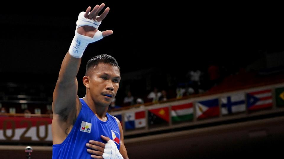 Tokyo 2020 Olympics - Boxing - Men's Middleweight - Last 16  - Kokugikan Arena - Tokyo, Japan - July 29, 2021. Eumir Marcial of the Philippines wins the fight. Pool via REUTERS/Luis Robayo