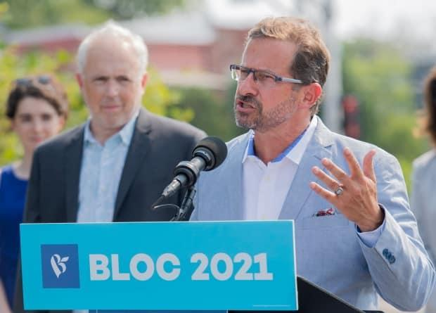 Bloc Quebecois Leader Yves-Francois Blanchet speaks to reporters during a federal election campaign stop in Longueuil, Que., on Aug. 20, 2021. Canadians will go to the polls on Sept. 20.  (Graham Hughes/The Canadian Press - image credit)