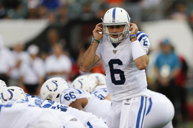 Indianapolis Colts quarterback Chad Kelly (6) calls a play during the first half of the team's NFL preseason football game against the Cincinnati Bengals, Thursday, Aug. 29, 2019, in Cincinnati. (AP Photo/Gary Landers)