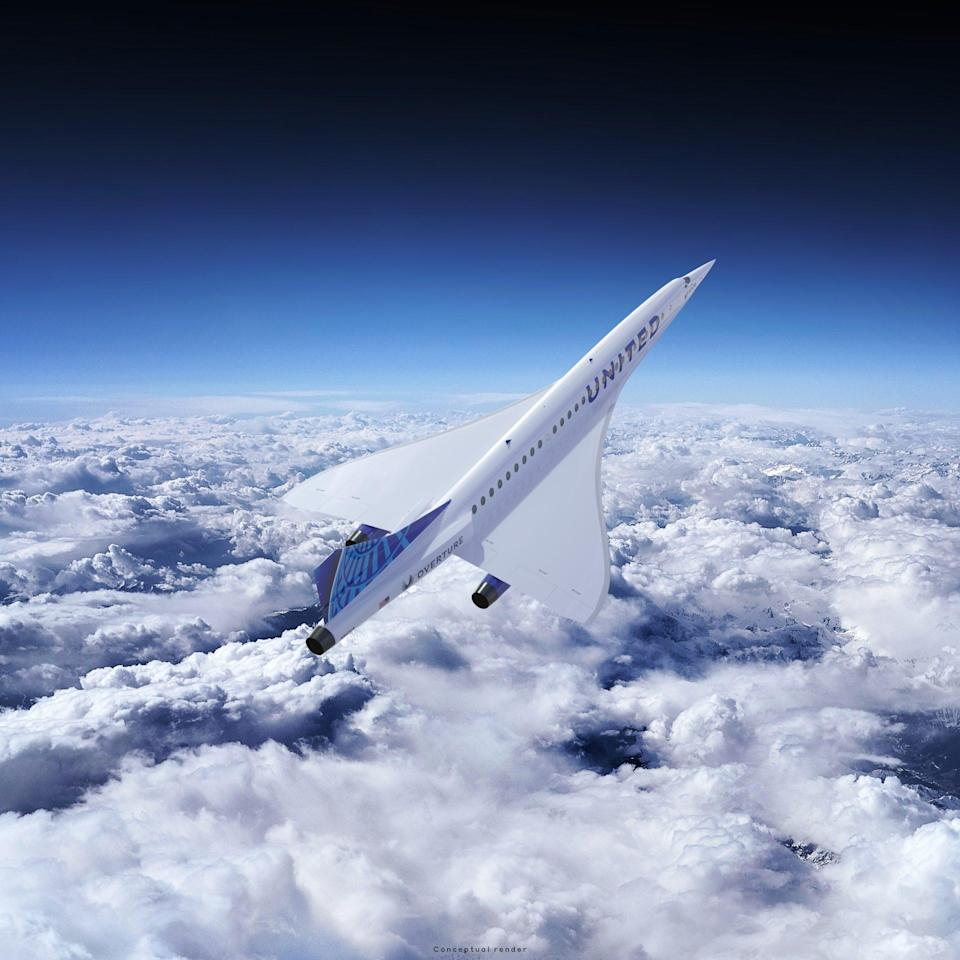 An image of a supersonic jet soaring through the sky.