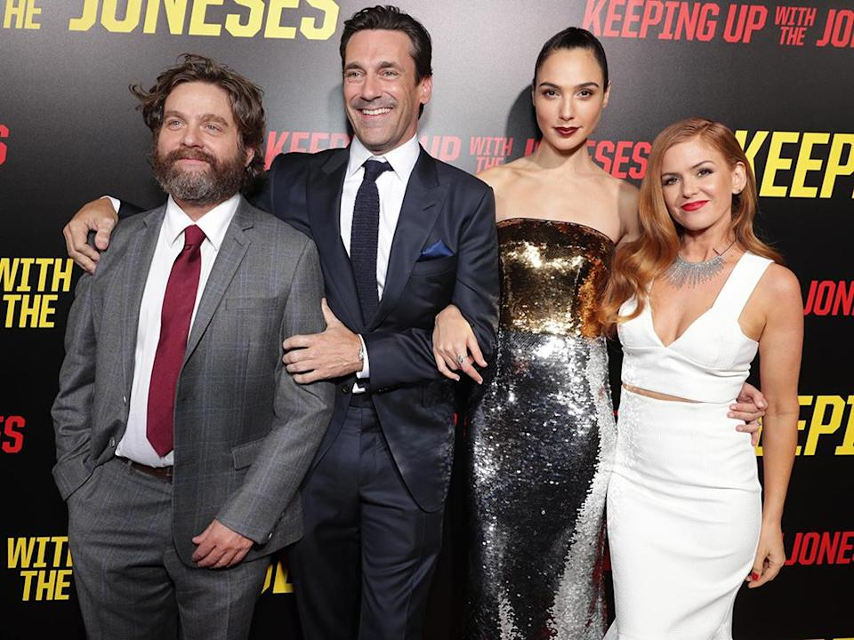 <p>Gadot starred in four films in 2016, including this spy comedy with Zach Galifianakis , Jon Hamm , and Isla Fisher . (Photo: Eric Charbonneau/Invision/AP) </p>