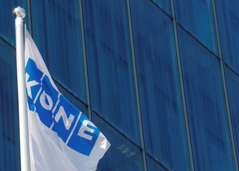 FILE PHOTO: Finnish company KONE flag flutters at their headquarters in Espoo