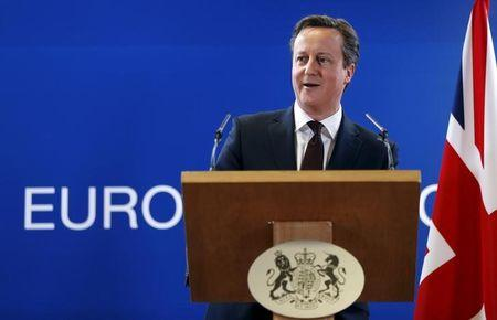Britain's Prime Minister David Cameron addresses a news conference during a European Union leaders summit in Brussels March 20, 2015.  REUTERS/Francois Lenoir