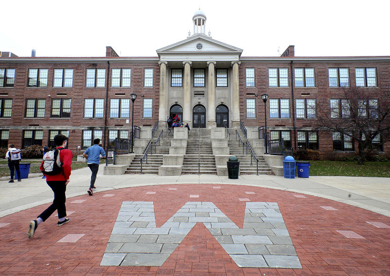 FILE - This Nov. 12, 2018, file photo shows West High School in Madison, Wis., where Marlon Anderson was working as a security guard. A Wisconsin school district is rehiring Anderson after he was fired last week for repeating a racial slur while telling a student not to use it, a union official said Monday, Oct. 21, 2019. (John Hart/Wisconsin State Journal via AP, File)
