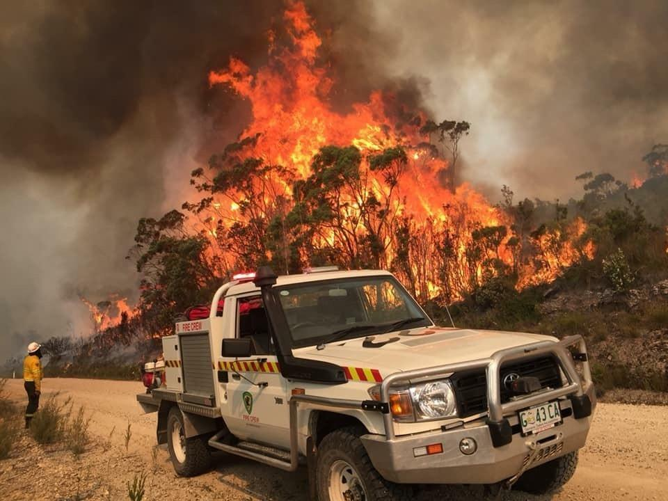 A bushfire burns in Miena in Tasmania's Central Highlands. Source: AAP