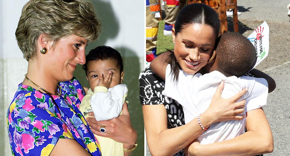 Princess Diana, left, hugging a child in 1991, and Meghan Markle hugging a child in Cape Town earlier this week. [Photo: Getty]