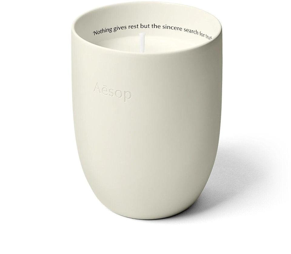 """<h3>Aesop Callippus Aromatique Candle<br></h3><br>Channel forest bathing vibes indoors with Aesop's beautifully-crafted candles that transform any living room into the ultimate realm of relaxation.<br><br><strong>Aesop</strong> Callippus Aromatique Candle, $, available at <a href=""""https://go.skimresources.com/?id=30283X879131&url=https%3A%2F%2Fwww.aesop.com%2Fus%2Fp%2Fhome%2Fhome-formulations%2Fcallippus-aromatique-candle%2F"""" rel=""""nofollow noopener"""" target=""""_blank"""" data-ylk=""""slk:Aesop"""" class=""""link rapid-noclick-resp"""">Aesop</a>"""