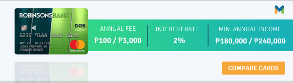 credit cards with no annual fee - robinsons bank dos