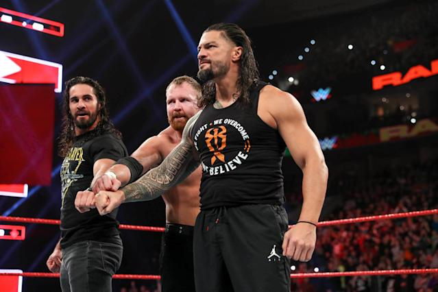 "Shield members Seth Rollins, Dean Ambrose, and Roman Reigns reunite on an episode of ""Monday Night Raw."" (Photo courtesy of WWE)"