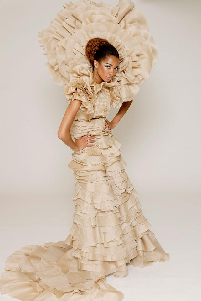 """'On Garde' design challenge on Season 4 of <a href=""""/project-runway/show/36319"""">Project Runway</a>. Marcia in the winning design by Christian and Chris."""