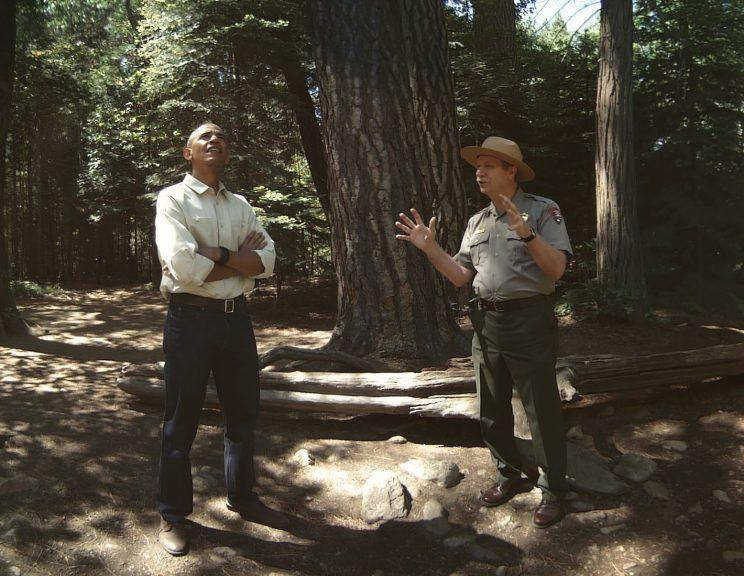 An image of president obama at yosemite park