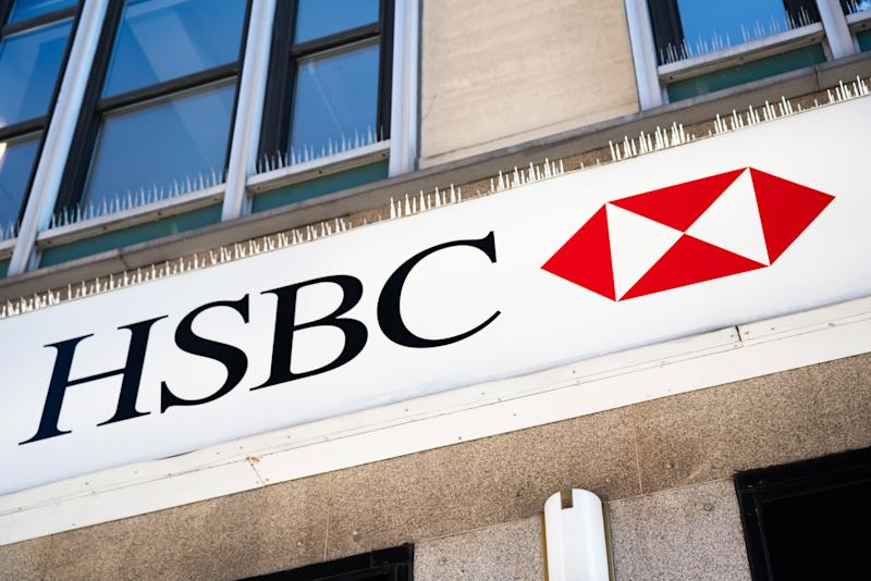 British multinational banking and financial services holding company, The Hongkong Shanghai Banking Corporation or HSBC logo seen at one of their branches. (Photo by Alex Tai / SOPA Images/Sipa USA)