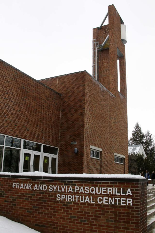 The Frank and Sylvia Pasquerilla Spiritual Center stands on the Penn State University campus in State College, Pa., Monday, Jan. 23, 2012. The public viewing for legendary Penn State football coach Joe Paterno will be held Tuesday and Wednesday in the Worship room of the Pasquerilla Spiritual Center. Paterno died Sunday at age 85, less than three months after being diagnosed with lung cancer.(AP Photo/Gene J. Puskar)