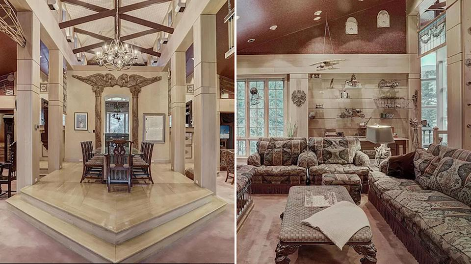 The lavish dining room and lounge room of the Colorado home.