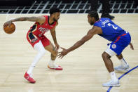 Los Angeles Clippers forward Kawhi Leonard (2) defends against New Orleans Pelicans guard Nickeil Alexander-Walker (6) during the second quarter of an NBA basketball game Wednesday, Jan. 13, 2021, in Los Angeles. (AP Photo/Ashley Landis)