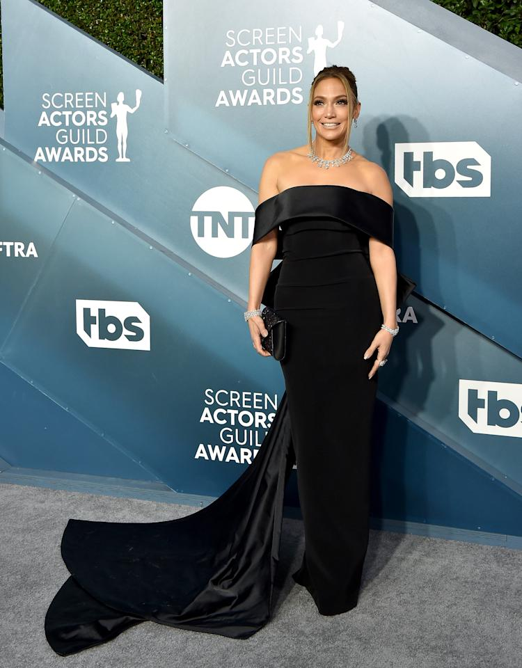 <p>For the 2020 SAG Awards, Lopez went classic and elegant, wearing a black Georges Hobeika gown with a casual $9 million worth of Harry Winston jewels.</p>