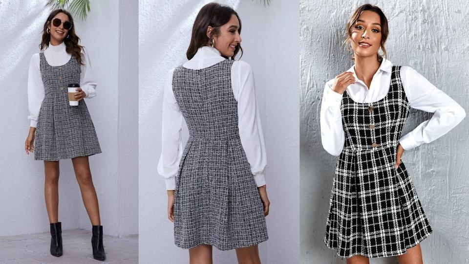 This fall-friendly dress is equal parts preppy and edgy.