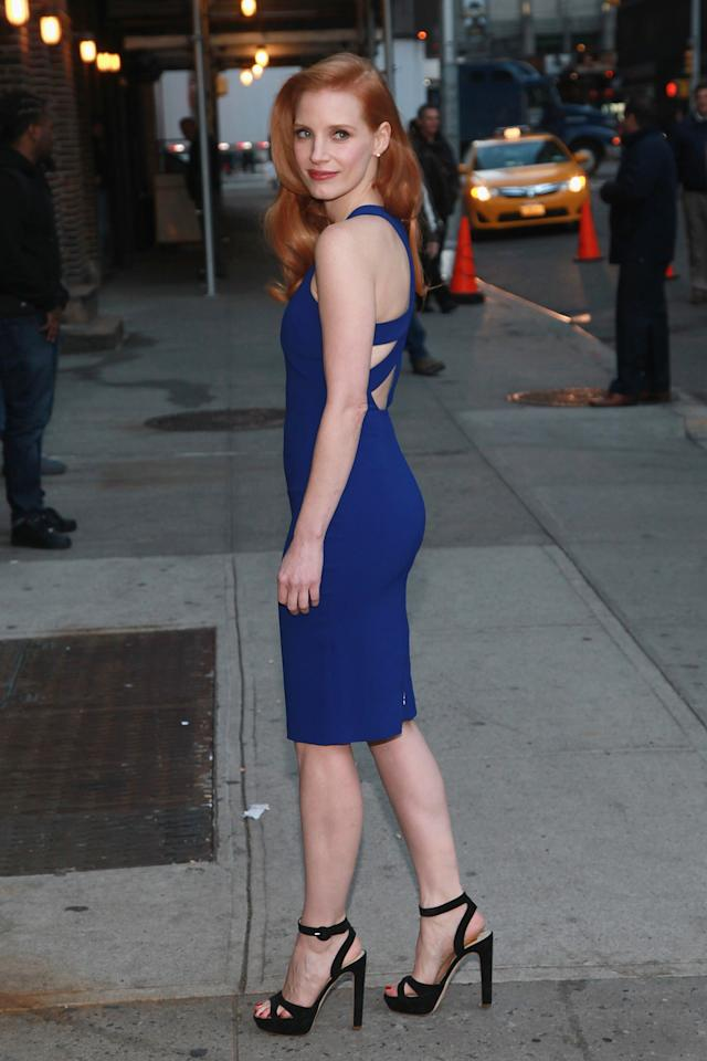 """Jessica Chastain arrives at """"Late Show with David Letterman"""" at Ed Sullivan Theater on January 7, 2013 in New York City.  (Photo by Taylor Hill/FilmMagic)"""