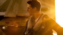 """Tom Cruise is seemingly set to attempt to break the <a href=""""https://uk.movies.yahoo.com/tom-cruises-most-dangerous-stunts-134115544.html"""" data-ylk=""""slk:stunts per year record;outcm:mb_qualified_link;_E:mb_qualified_link;ct:story;"""" class=""""link rapid-noclick-resp yahoo-link"""">stunts per year record</a> in 2021 thanks to the delay to this belated sequel to the 1980s classic <em>Top Gun</em> and, of course, another big franchise effort. More on that later. Joseph Kosinski's film sees Cruise reprise the role of test pilot Maverick and will feature Miles Teller as Rooster — son of Maverick's late friend Goose. (Credit: Paramount)"""
