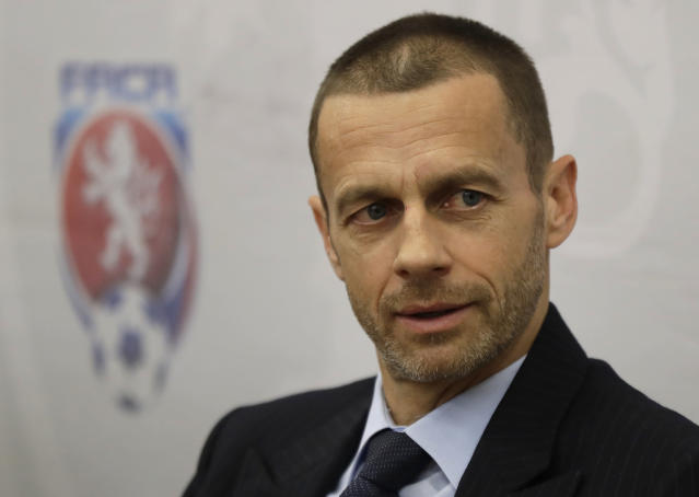 In this Tuesday, March 21, 2017 file photo, UEFA president Aleksander Ceferin addresses the media at a news conference in Prague, Czech Republic. Aleksander Ceferin is set to be re-elected as head of European soccer after no challenger entered the contest for the UEFA presidency. The deadline for candidates ahead of the election in February passed on Wednesday Nov. 7, 2018. (AP Photo/Petr David Josek, File)