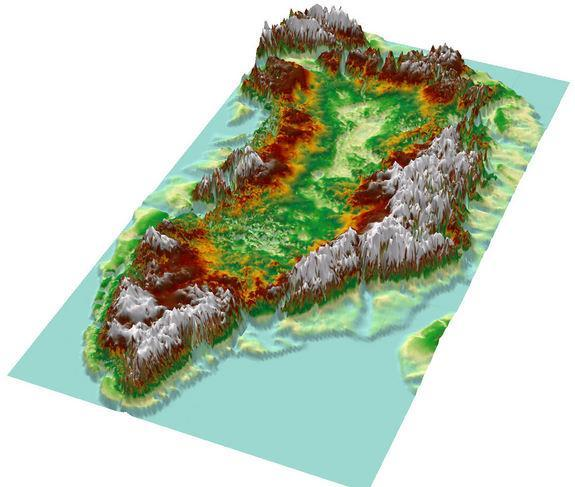 A topographic map of Greenland from bedrock elevation data.