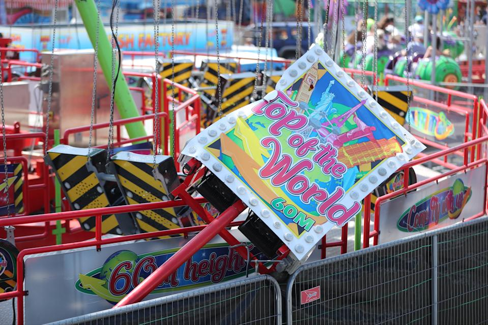 The Star Flyer funfair ride at Planet Fun in Carrickfergus which collapsed on Saturday (PA)
