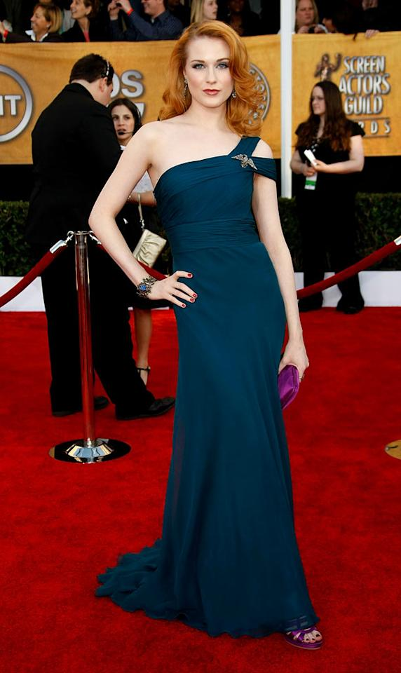 "<a href=""/evan-wood/contributor/37482"">Evan Rachel Wood</a> arrives at the <a href=""/the-15th-annual-screen-actors-guild-awards/show/44244"">15th Annual Screen Actors Guild Awards</a> held at the Shrine Auditorium on January 25, 2009 in Los Angeles, California."