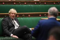 Britain's Prime Minister Boris Johnson speaks during a debate at the House of Commons in London