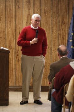 "<span class=""caption"">Mike Pence meeting Indiana constituents in 2011.</span> <span class=""attribution""><a class=""link rapid-noclick-resp"" href=""https://newsroom.ap.org/detail/Pence2012/f6c01f6b59f845a8bac443e30110bdee/photo?Query=Michael%20AND%20Pence&mediaType=photo&sortBy=arrivaldatetime:asc&dateRange=Anytime&totalCount=788&currentItemNo=36"" rel=""nofollow noopener"" target=""_blank"" data-ylk=""slk:AP Photo/Michael Conroy"">AP Photo/Michael Conroy</a></span>"