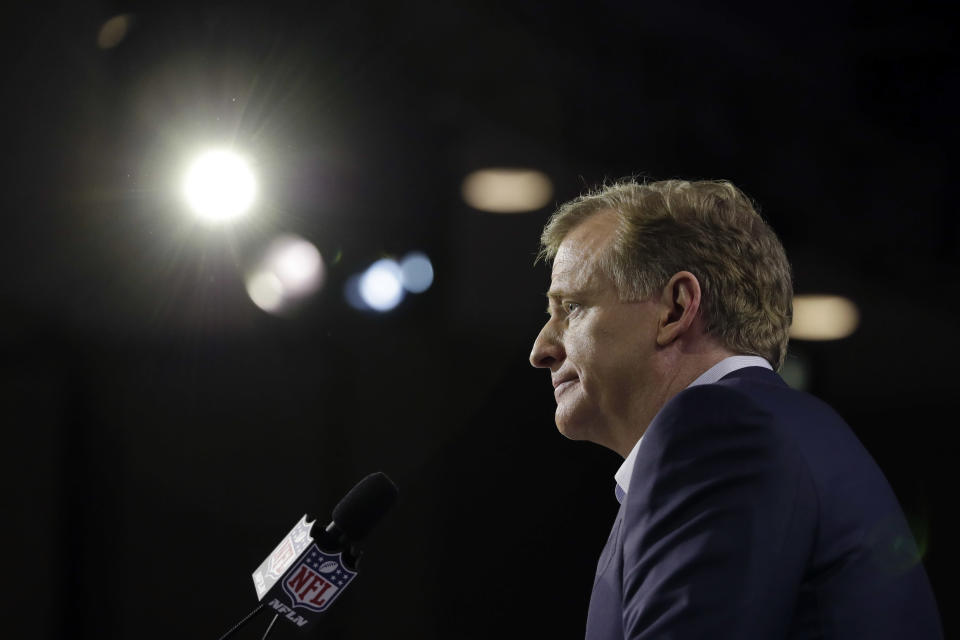 NFL commissioner Roger Goodell speaks during a news conference in advance of the Super Bowl 52. (AP)