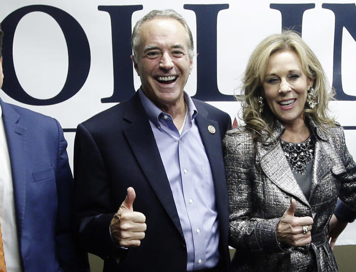 Rep. Chris Collins, R-N.Y., with his wife, Mary Sue Collins, on Tuesday. (Photo: Frank Franklin II/AP)
