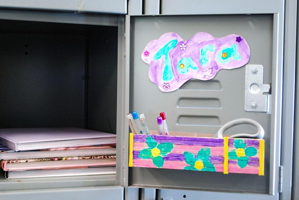"""<p>Since locker space is always at a premium, use this magnetic pencil holder to make the most of every inch of storage. It looks nice, too.</p><p><em><a href=""""https://www.craftprojectideas.com/magnetic-pencil-holder/"""" rel=""""nofollow noopener"""" target=""""_blank"""" data-ylk=""""slk:Get the tutorial at Craft Project Ideas »"""" class=""""link rapid-noclick-resp"""">Get the tutorial at Craft Project Ideas »</a></em></p>"""