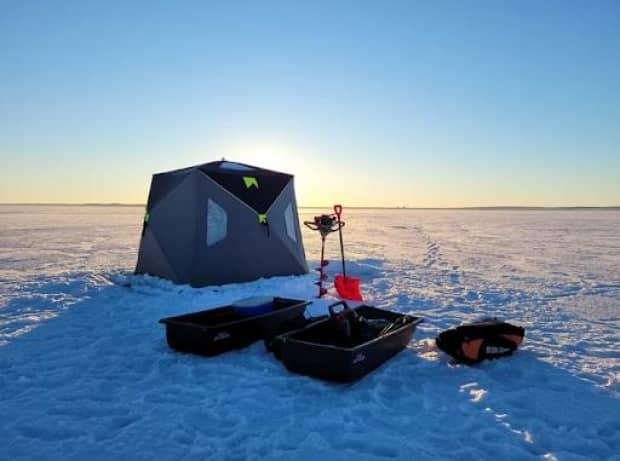 A typical ice fishing set up that Get Fishin' Rentals offers to its Alberta customers.