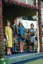 """<div class=""""caption-credit"""">Photo by: Getty Images</div>Eighteen-year-old Anne, the Princess Royal, center, poses at the Braemar Highland Games with grandmother, the Queen Mother; brother Charles; and her aunt, Princess Margaret. <br>"""