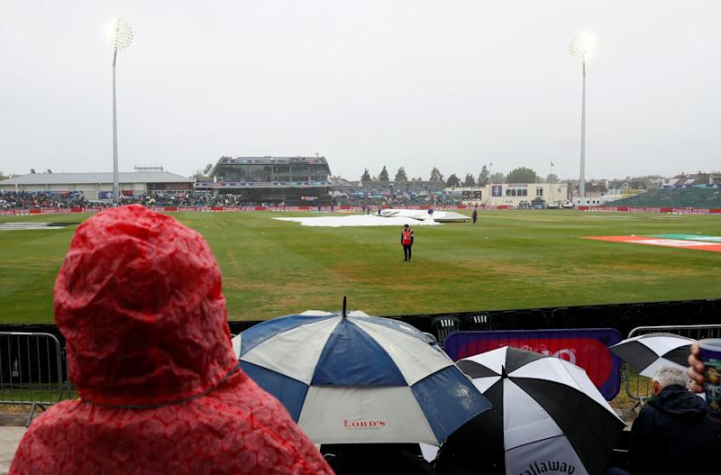 A rain delay at Bristol's County Ground on Sunday. More showers are expected in the UK on Monday (Action Images via Reuters/Jason Cairnduff)