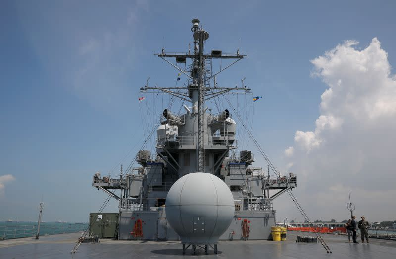 FILE PHOTO: A view of the flight deck of USS Blue Ridge (LCC 19) is seen at Changi Naval Base in Singapore