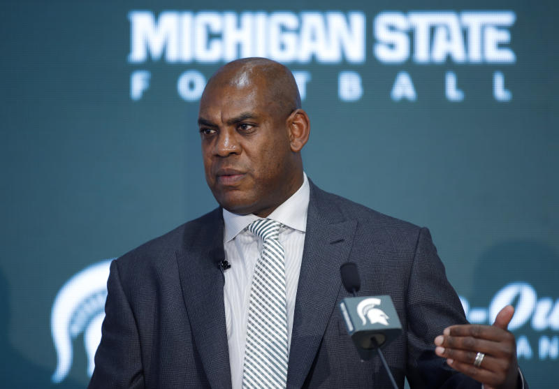 Mel Tucker, Michigan State's new football coach, speaks during a news conference Wednesday, Feb. 12, 2020, in East Lansing, Mich. (AP Photo/Al Goldis)