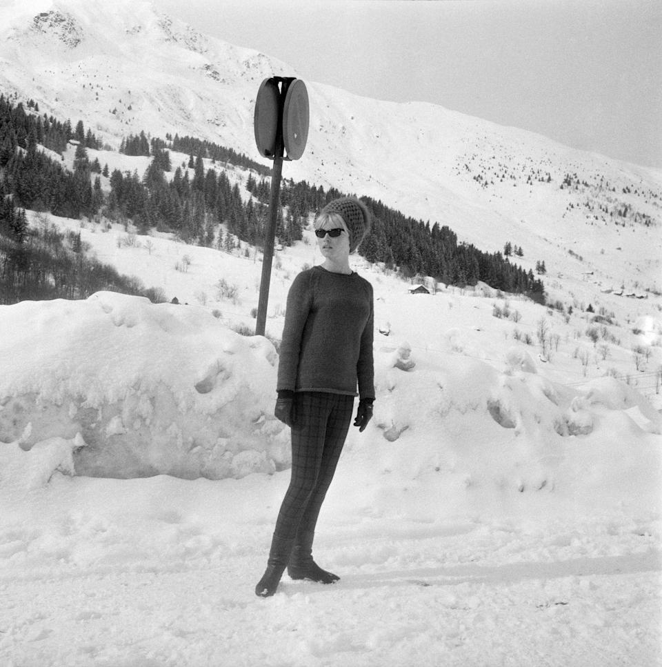 <p>French actress Brigitte Bardot during a vacation at the Méribel Ski Resort in France, circa 1963.</p>