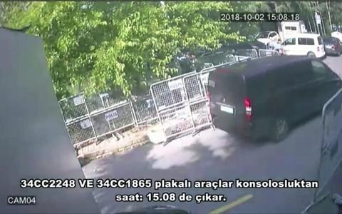 A frame grab allegedly shows a black van suspected of being involved in the disappearance of Khashoggi in front of the Saudi consulate in Istanbul  - Credit: AFP