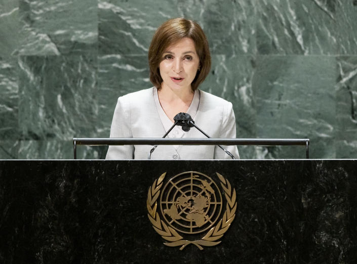 Moldova's President Maia Sandu addresses the General Debate during the 76th session of the United Nations General Assembly, Wednesday, Sept. 22, 2021, at UN headquarters. (Justin Lane/Pool Photo via AP)