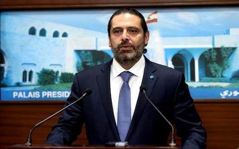 <span>Lebanese Prime Minister Saad Hariri speaks after a cabinet meeting at the presidential palac, in Baabda, east of Beirut, Lebanon</span> <span>Credit: Lebanese Official Government Photographer </span>