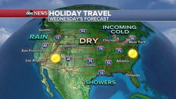 Wednesday's travel forecast looks mild in most parts. (ABC News)