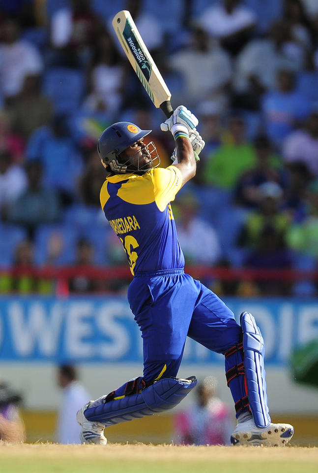 Sri Lankan batsman Chamara Kapugedara plays a shot during the ICC World Twenty20 Super Eight match between India and Sri Lanka at the Beausejour Cricket Ground on May 11, 2010 in Gros Islet, St Lucia. Sri lanka won by 5 wickets to enter the semifinals and eliminating India. AFP PHOTO/Emmanuel Dunand (Photo credit should read EMMANUEL DUNAND/AFP/Getty Images)