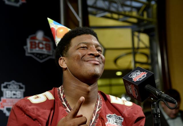 NEWPORT BEACH, CA - JANUARY 4: Quarterback Jameis Winston #5 of the Florida State Seminoles wears a birthday hat as he speaks during a Vizio BCS National Championship media day news conference January 4, 2014 in Newport Beach, California. Winston will celebrate his birthday on January 6, the same day as the BCS game. (Photo by Kevork Djansezian/Getty Images)
