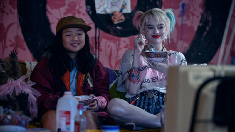 Ella Jay Basco and Margot Robbie in DC's comic book action movie 'Birds of Prey'. (Credit: Claudette Barius/Warner Bros/DC)