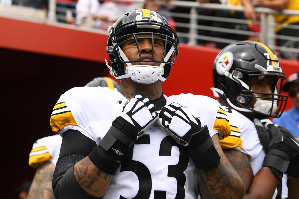 Pittsburgh Steelers center Maurkice Pouncey said he will choose his own decal for his helmet. (Brian Rothmuller/Icon Sportswire via Getty Images)