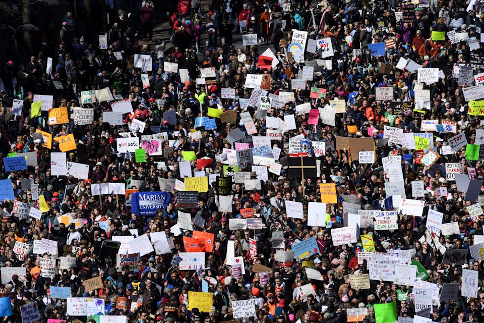 "Thousands of protesters packed Pennsylvania Avenue in Washington during the March for Our Lives gathering on Saturday. The more popular protest chants included ""Not one more,"" ""Vote them out"" and ""The NRA has got to go!"" (Photo: The Washington Post via Getty Images)"