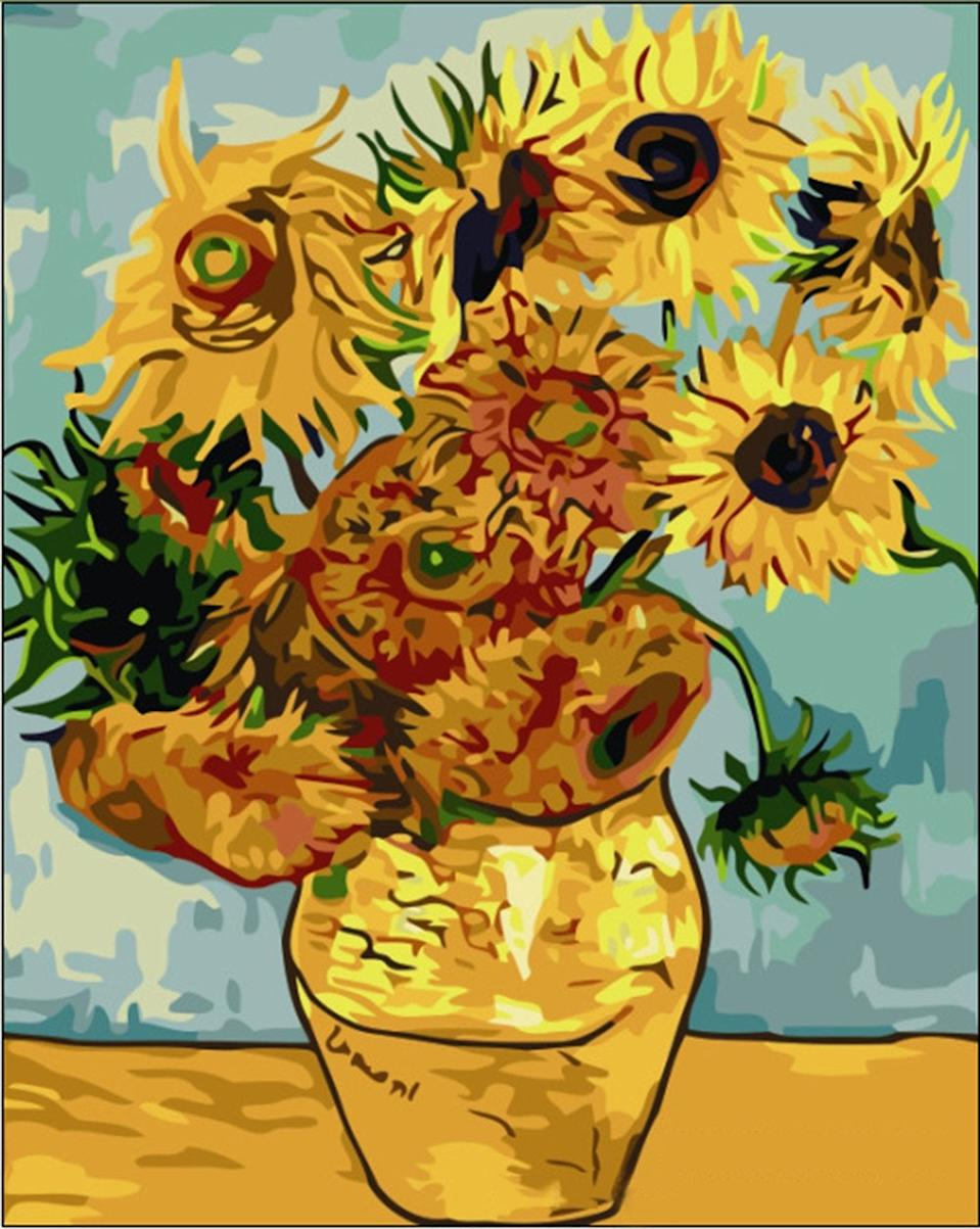 """<br><br><strong>Tonzom</strong> Paint by Numbers Kits, Sunflower by Van Gogh 16 x 20, $, available at <a href=""""https://amzn.to/2WVHAp8"""" rel=""""nofollow noopener"""" target=""""_blank"""" data-ylk=""""slk:Amazon"""" class=""""link rapid-noclick-resp"""">Amazon</a>"""