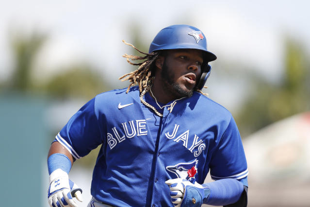 Toronto Blue Jays' Vladimir Guerrero Jr. rounds the bases after a solo home run during a spring training baseball game against the Pittsburgh Pirates, Thursday, March 12, 2020, in Bradenton, Fla. (AP Photo/Carlos Osorio)